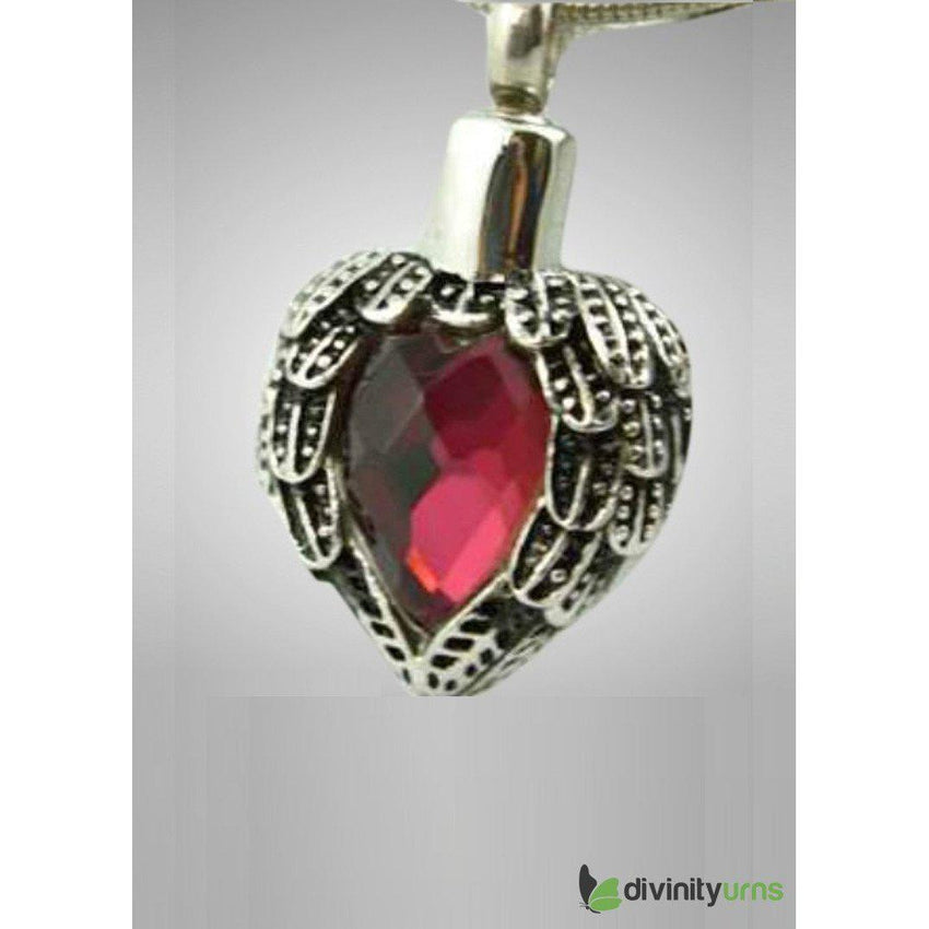 Silver Red Heart Jewelry-Divinity Urns
