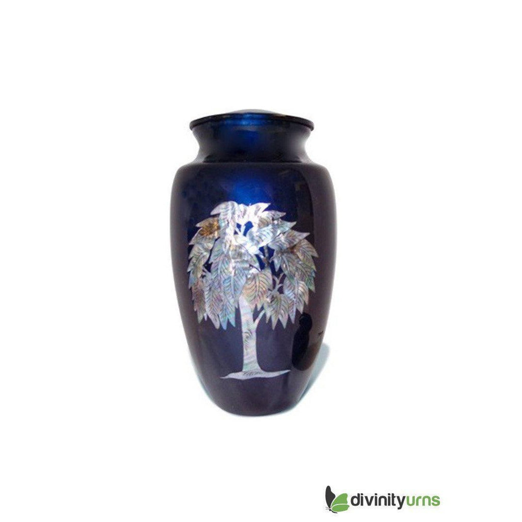 Soulful Tree Inlaid Mother of Pearl Cremation Urn, Adult Urn - Divinity Urns.