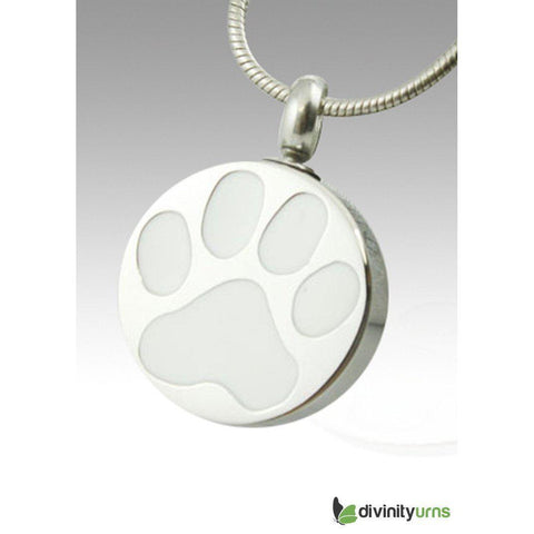White Paw Pet Cremation Keepsake Pendant,  - Divinity Urns.