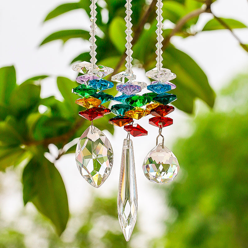 3pcs/set 7 Chakra Prism Crystal Sun Catcher