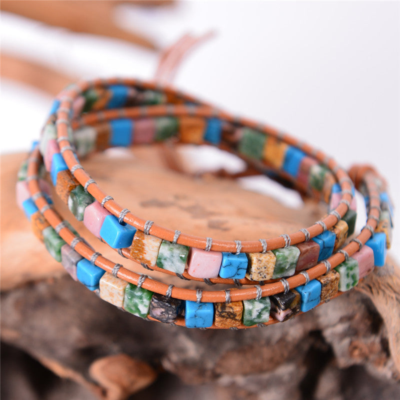 Stone and Leather Natural Bracelet