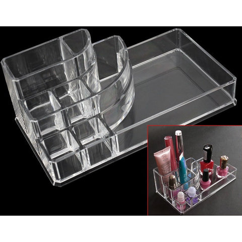 Clear Acrylic Trapezoid Makeup Organizer Case
