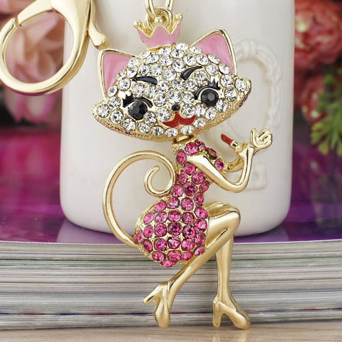 Lipstick Cat Lady Crystal Keyring 14K Gold Plated