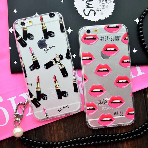 Lipstick Transparent Phone Case Cover For IPhone 6 6s 4.7