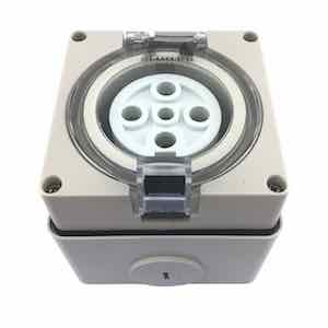 SOCKET OUTLET 3 ROUND PIN IP66