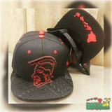 King Kamehameha Hawaii Snapback Red Stitching Embroidered on Black Cap