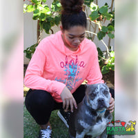 Dog Owner wearing a Pink Aloha Hoodie from Rasta Headquarters with pit bull terrier.