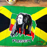 Freedom Bob Marley Sarong Beach Pareo Laying horizontally,