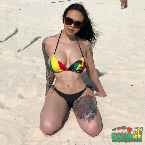 Rasta Headquarters Bob Marley Two Piece Bikini Set Modeled on Beach