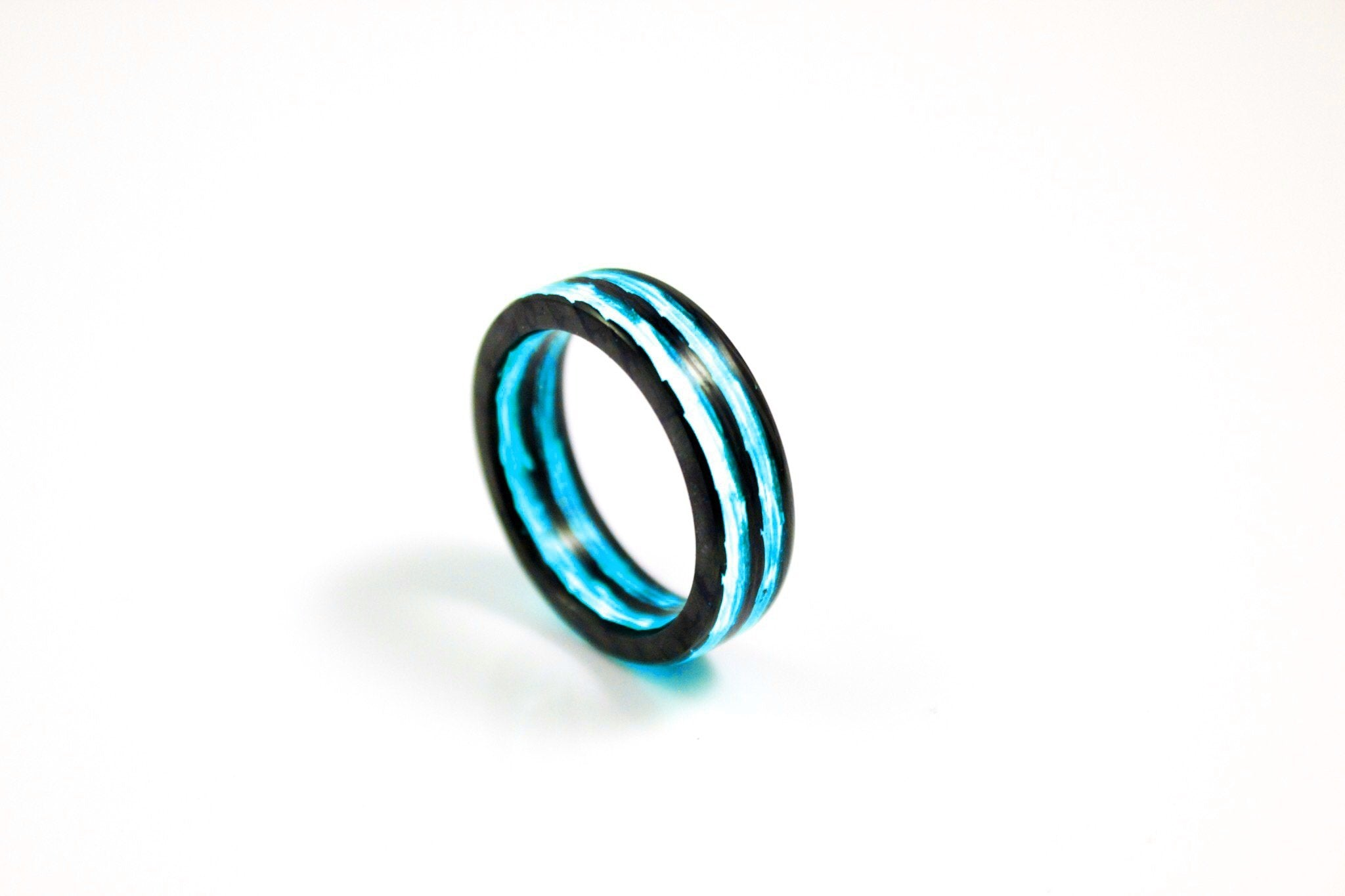 Size 8.5 Blue Aurora Carbon Fiber Ring