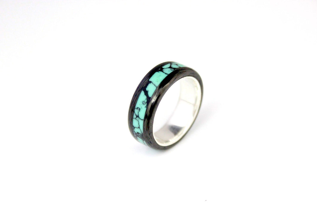 Turquoise Web with carbon and silver