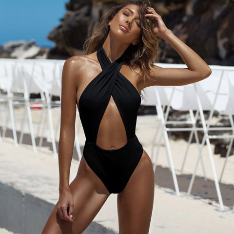 One-piece Cute Hollow Bikini Set