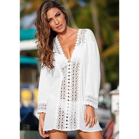 Lace Crochet Bikini Hollow Out V-Neck Cover-Ups
