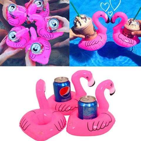 10 Pcs Red Flamingo Floating Drink Can Holder