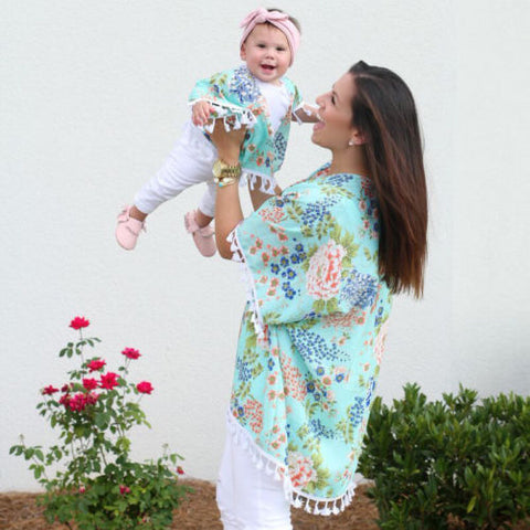 Floral Family Matching Cardigans Tassels Jacket Cover-Ups