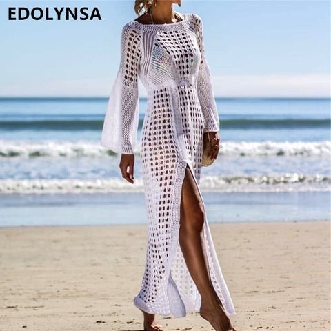 2019 Crochet Tunic Beach Dress Hollow Out Knitted Cover Up