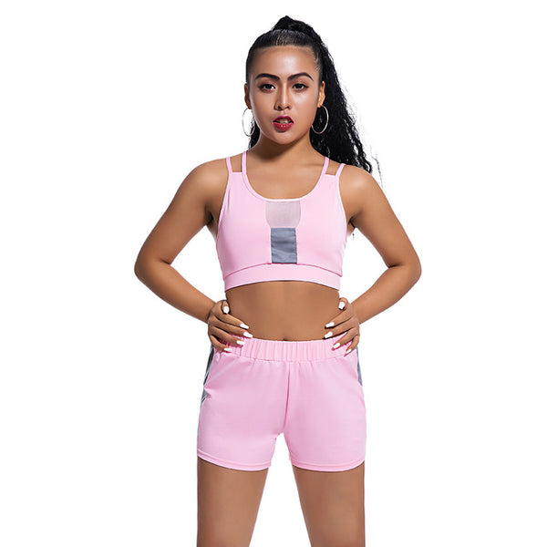 Ladies high waist two-piece yoga suit sports bra shorts gym clothing