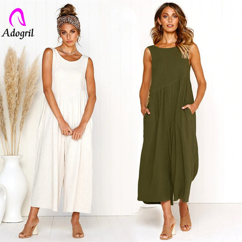 Deep V Back O Neck wide Jumpsuits Pleated Sleeveless Long Pants one piece summer suits