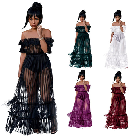 Ruffle Off Shoulder Mesh Sheer Cover Up Tulle Lace Beach Long Dress