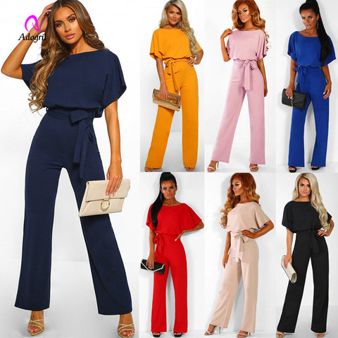 Full Length Sashes Back Hollow Out Wide Sleeve Waist Belt Jumpsuits Summer One Piece Outgoing Suits