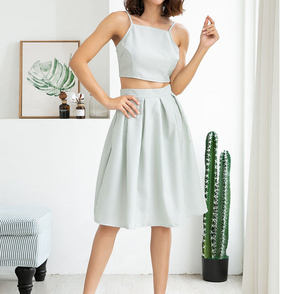 Lady summer fashion slim umbilical sleeveless solid color camisole strapless shein ensemble femme two-piece suit