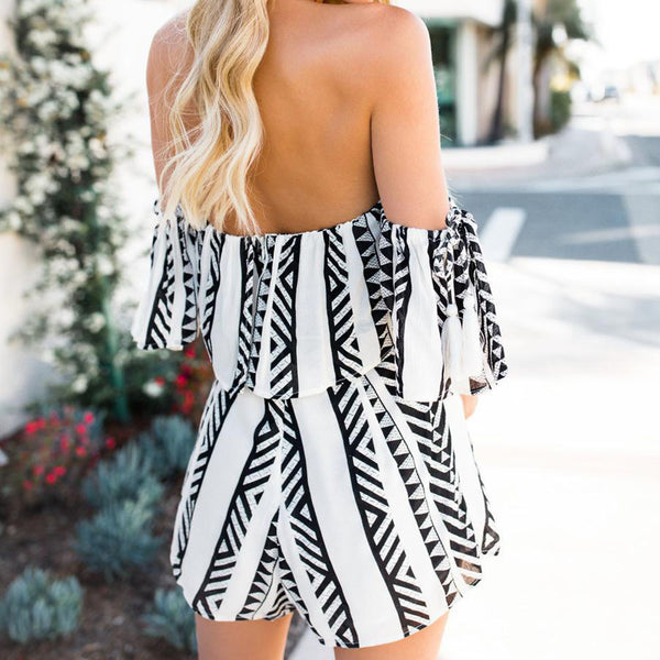 2019 Ladies fashion summer print off- shoulder backless casual loose ensemble femme two-piece suit
