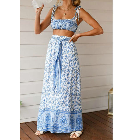 Summer ladies sling wrapped chest loose wide leg casual vacation thin straps floral shein two-piece suit