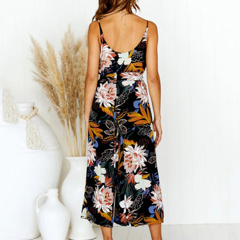 Women's summer bohemian loose sling strap printing sleeveless V-neck split casual shein two-piece suit