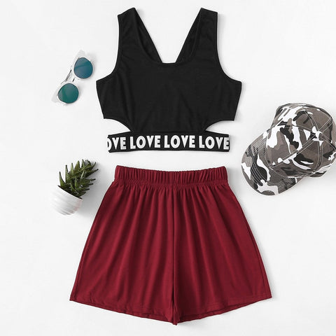 Women's summer two-piece suit fashion V-neck letters casual sleeveless exposed umbilical wide leg loose shein dress