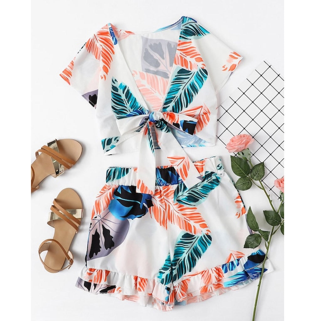 Ladies' two-piece suit summer fashion printing straps cool fresh short sleeve deep v ensemble femme shein