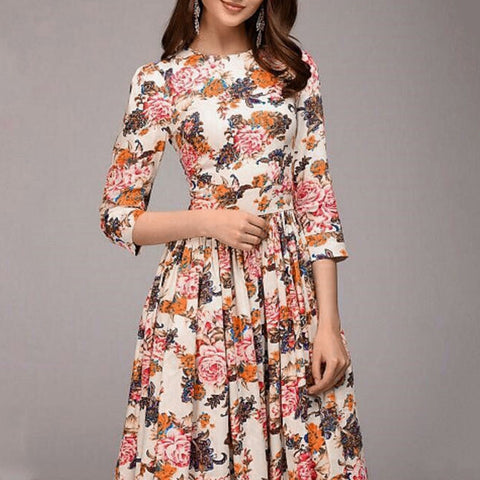 Women floral print thin vintage knee length dress de fiesta robe femme vadim neck snake pattern suits