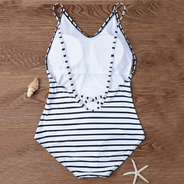 Modest White Stripes Backless One Piece Swimsuit - worthtryit.com