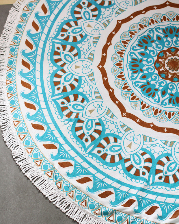 Boho Beach Tapestry Mandala Towel-Blue - worthtryit.com