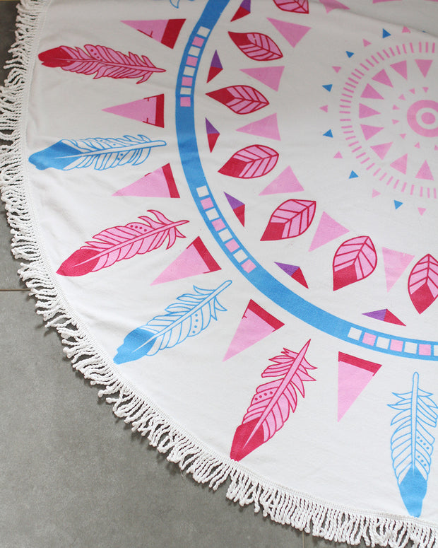 Boho Beach Tapestry Mandala Hippie Throw Mat Towel-Pink - worthtryit.com