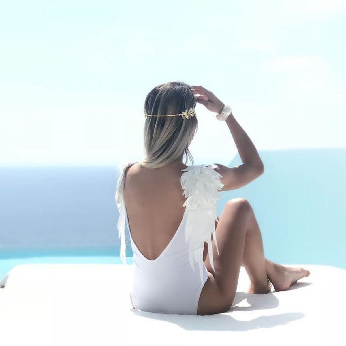 Angle Wings Open Back One Piece Swimsuit - worthtryit.com