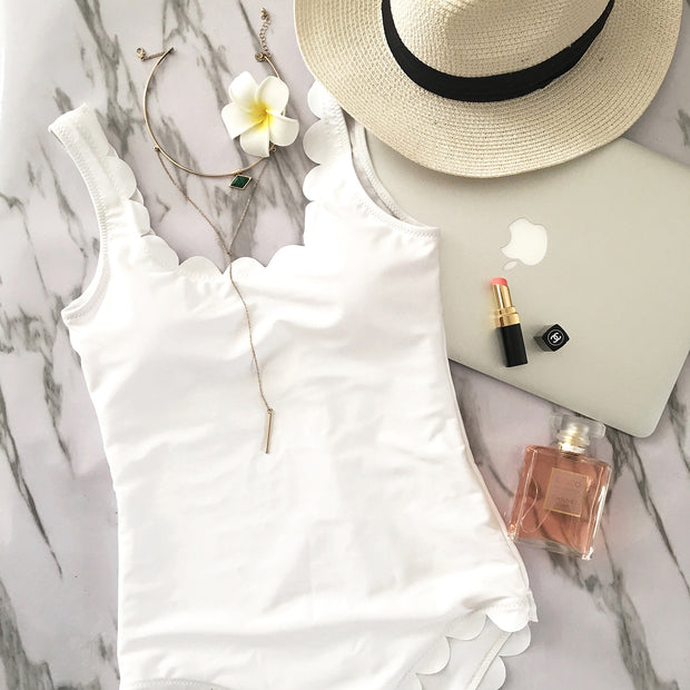 Cute Scallop One Piece Swimsuit- White - worthtryit.com
