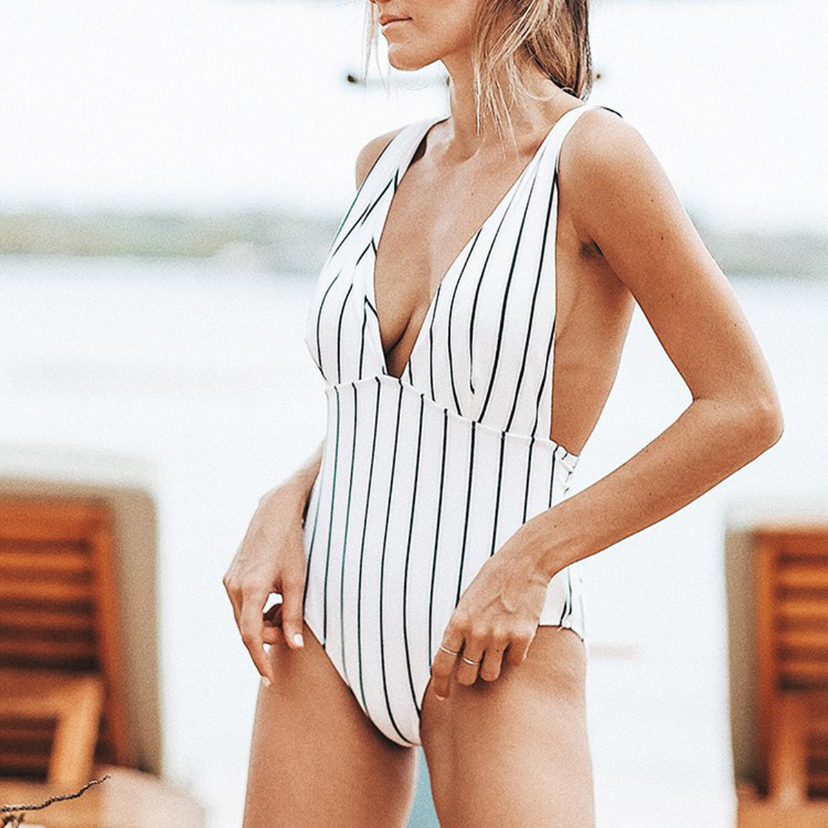 Stripes V Neck Tie Waist One Piece Swimsuit - worthtryit.com