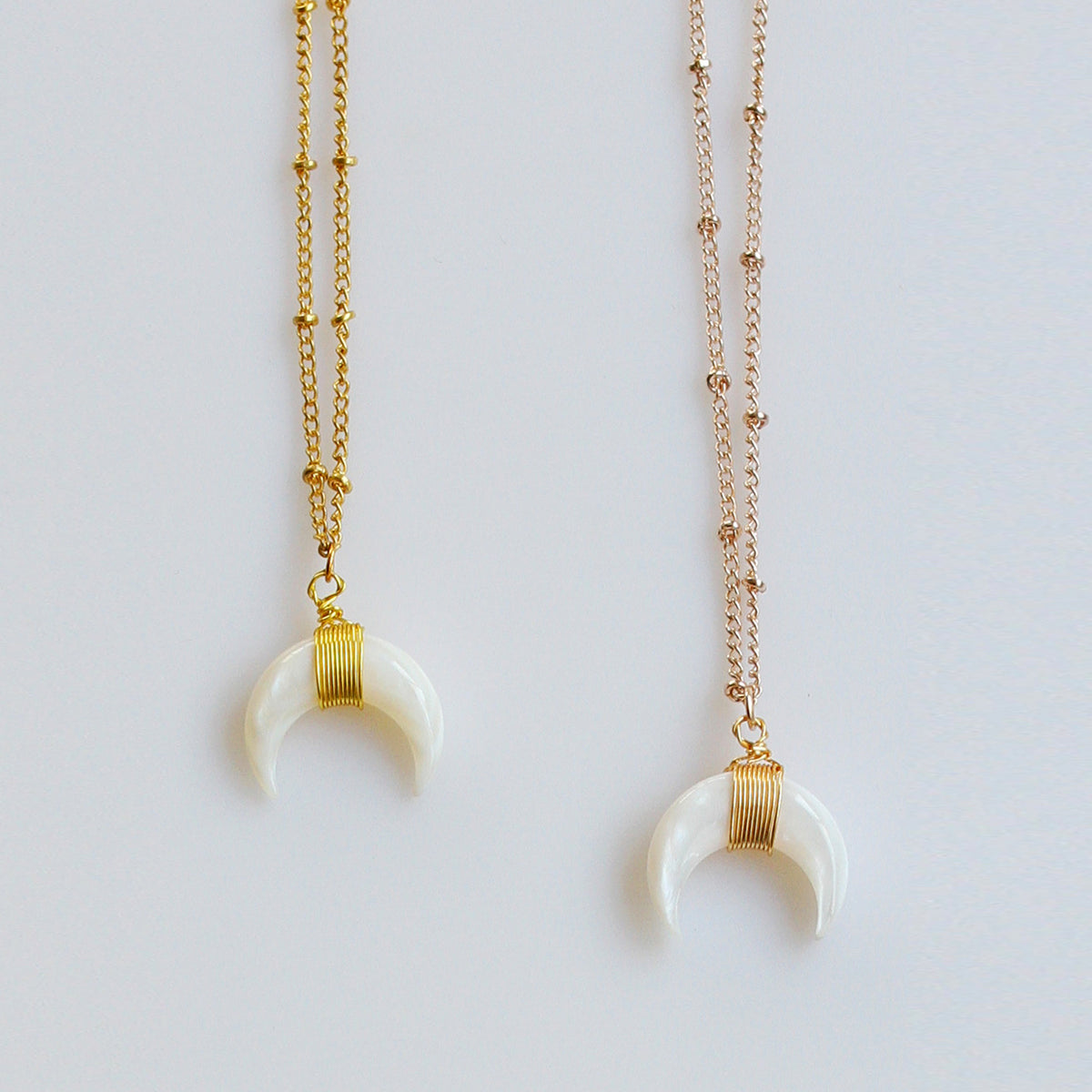 "Natural Seashell Double Horn Moon Crescent Pendant Beaded 16"" Necklace - worthtryit.com"