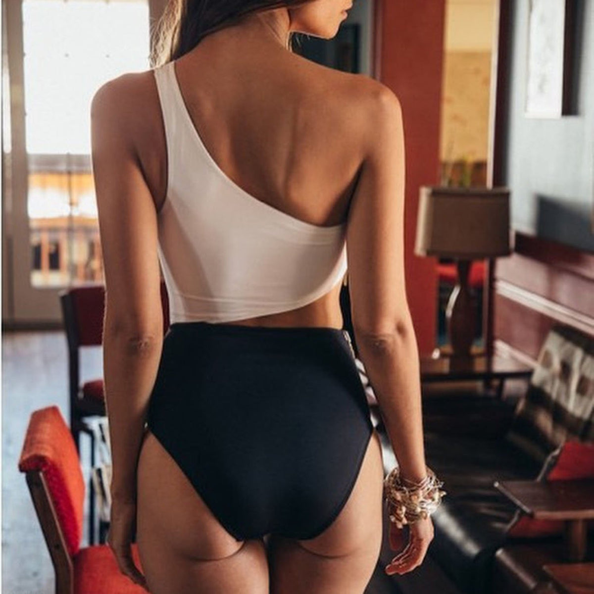 Side Zipped One Shoulder High Waist One Piece Swimsuit - worthtryit.com