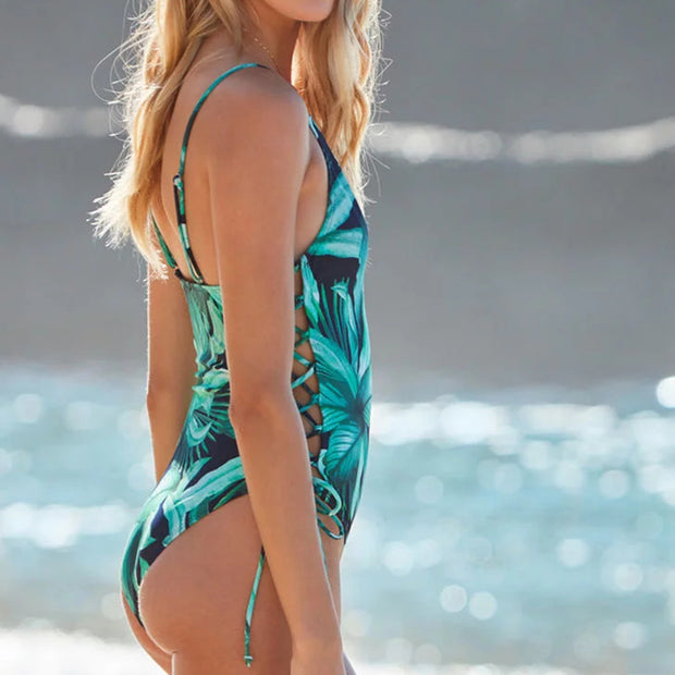 Leaves Print V Neck Side Lace Up One Piece Swimsuit - worthtryit.com