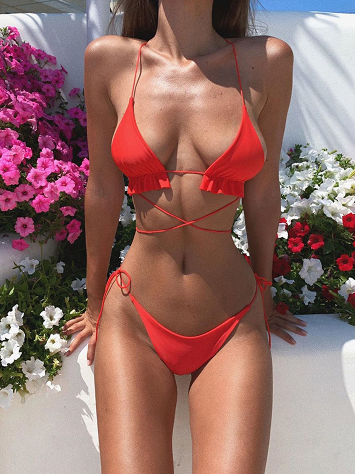Cheeky Tiny Straps Cross Back Triangle Bikini Swimsuit HT20 - worthtryit.com
