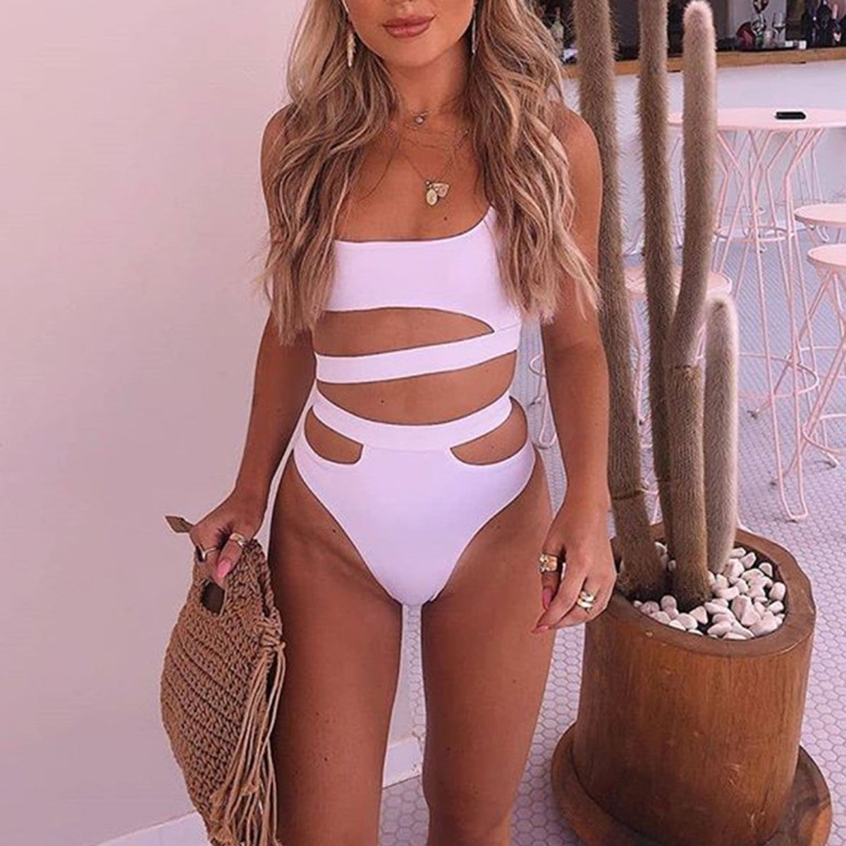 Cut Out Crop Top High Waist Bikini Swimsuit PX20 - worthtryit.com