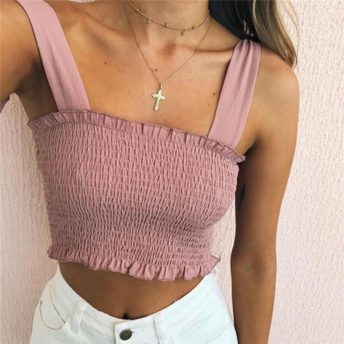 Cute Scrunch Ruffle Hem Bow Tie Shoulder Crop Top - worthtryit.com