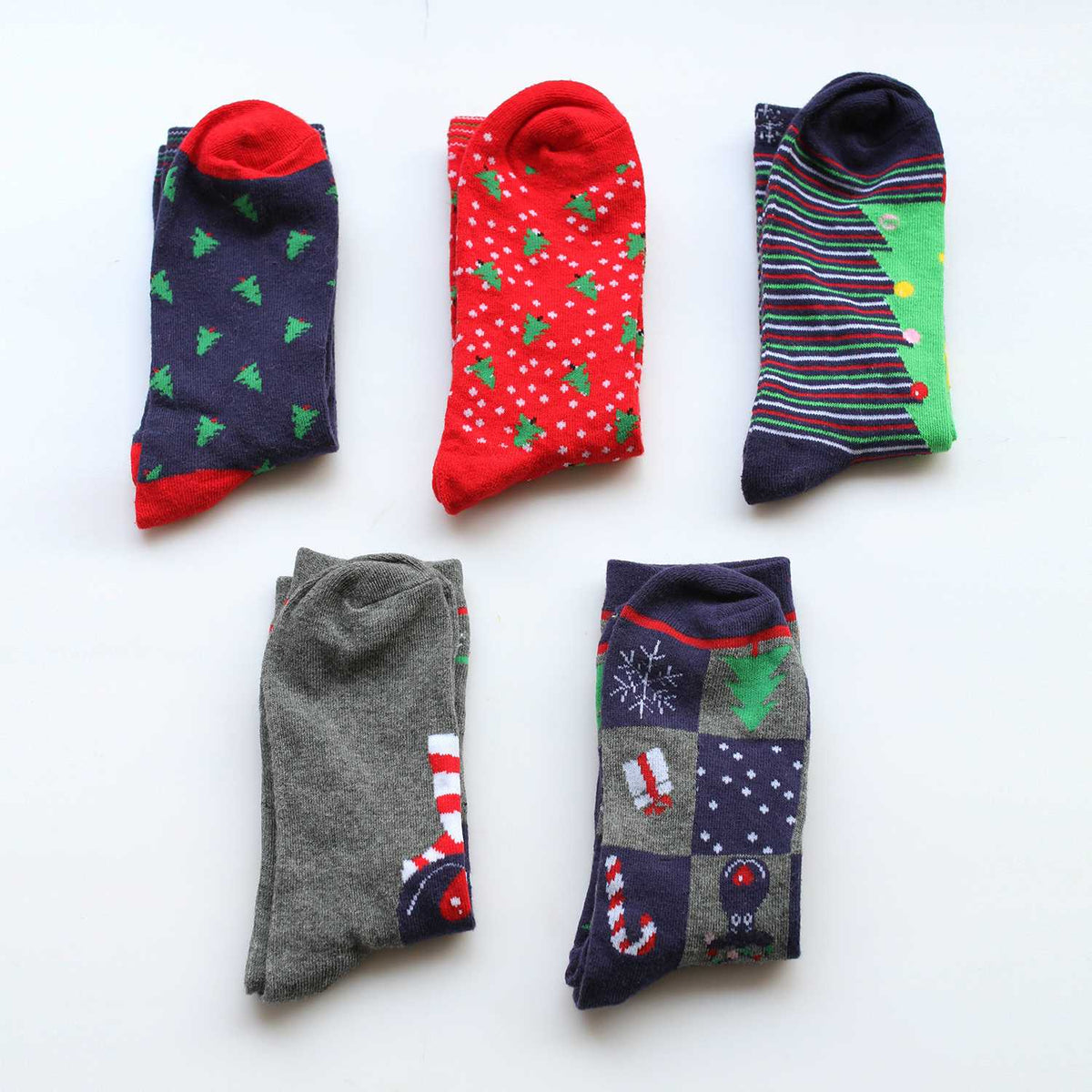 Long Cotton Socks 5 Pairs Set - Christmas - worthtryit.com