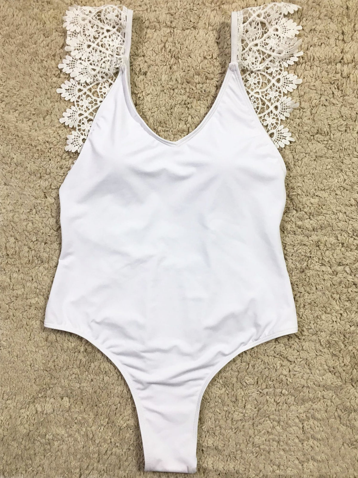 Lace Strap Open Back High Cut One Piece Swimsuit - worthtryit.com