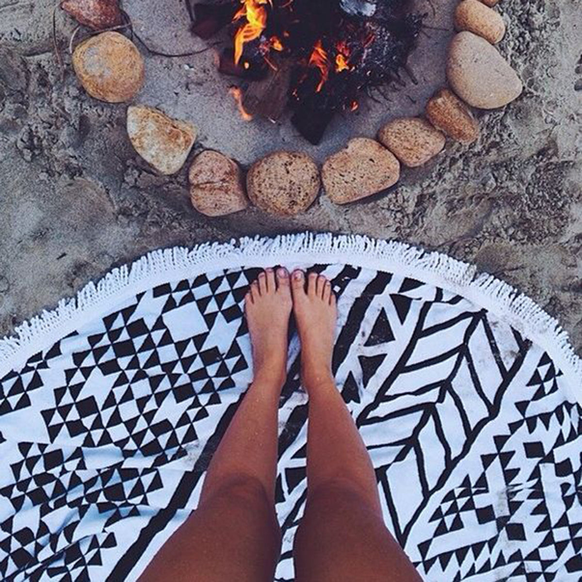 Boho Beach Tapestry Mandala Hippie Throw Mat Towel-Black - worthtryit.com