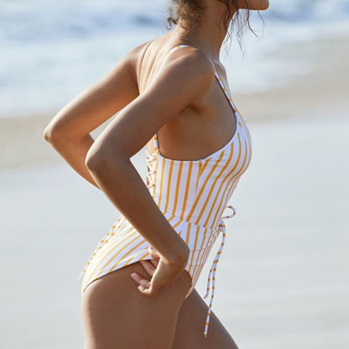 Yellow Striped Lace Up Front Back One Piece Swimsuit - worthtryit.com