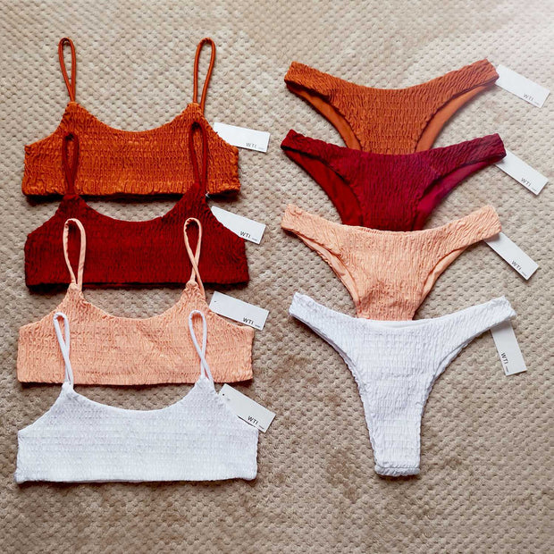 Cute Bikinis Scrunch Swimsuit Spaghetti Bikini Set - worthtryit.com