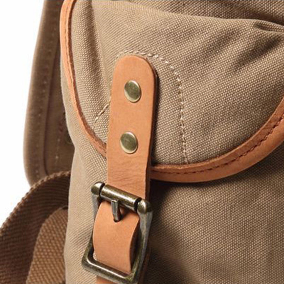 "Vintage Style Canvas & Leather Rucksack Backpack 14"" - worthtryit.com"