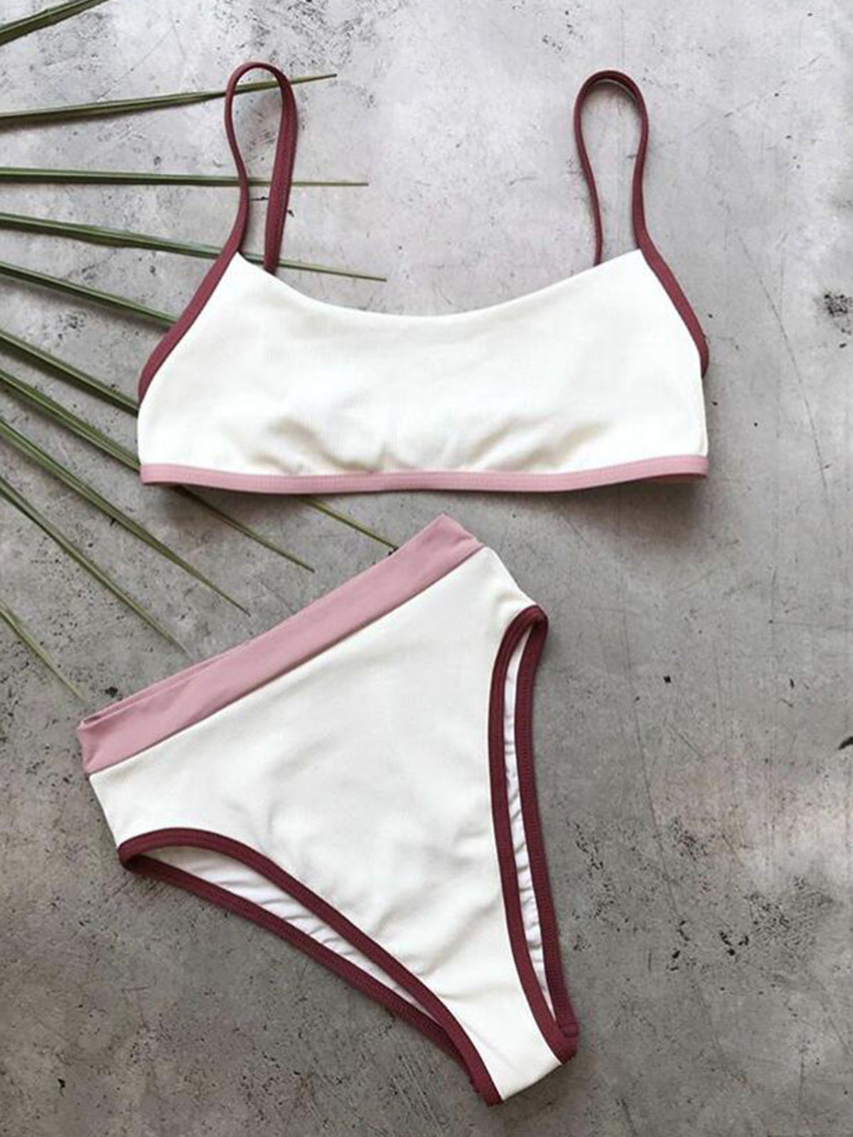 Color Blocked Strappy Crop Top High Waisted Bikini Set - worthtryit.com